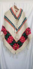 Vintage Hand Made Boho Hippie Flower Shawl Poncho Knit Crochet