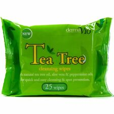 25Pc NATURAL TEA TREE CLEANSING WIPES Facial/Body Hygiene Acne Oils Aloe Vera