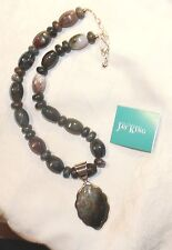 """JAY KING Black Grey Brown Bead 925 Sterling Silver 18"""" +3"""" Pendant Necklace NWT!"""