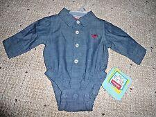 Wrangler Baby's Newborn Infant unisex Bodysuit, Denim newborn one piece