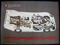 PORSCHE OFFICIAL 962 RACECAR SHOWROOM GHOST SEE-THROUGH POSTER 1988 USA RARE.