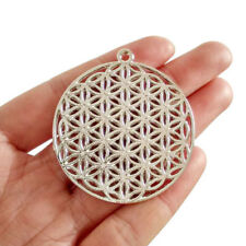2 x Silver Plated Large Flower of Life Round Charms Pendants Double Sided