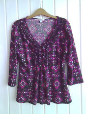 BNWOT - LADIES BRIGHT PURPLE & PINK STRETCHY TOP WITH FRILLY NECKLINE - SIZE 14