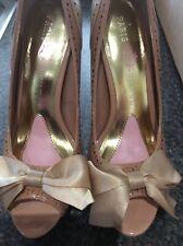 Ladies Leather Peep Toe Court Shoes By Paris Hilton Size 5/38