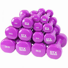 DTX Fitness Purple Vinyl Dumbbell Hand Weights Home Gym Exercise/Workout Ladies