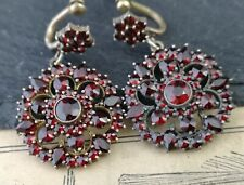 Antique Victorian bohemian garnet drop earrings, forget me not