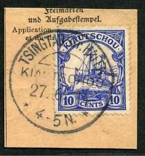 Kiautschou Mi 31  PA-Briefstück  Tsingtau-Gr. Hafen