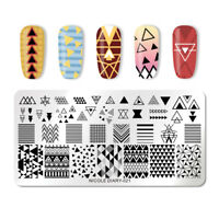 NICOLE DIARY Nagel Kunst Stamping Plates Geometric Nail Stamp Image Plate ND-021