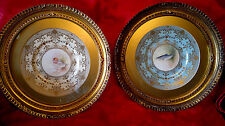 """Vintage Pair of Gilt Framed Hand Painted Trout & Duck Plates Wall Plaques 17""""Dia"""