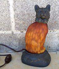 "WORKS! Vintage 8"" Tin Chi Cat Table Night Art Decor Lamp Amber Glass Light"
