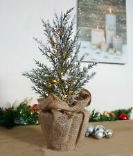 40cm Frosted Pre Lit LED Christmas Tree Burlap Rustic Christmas Decor Tabletop