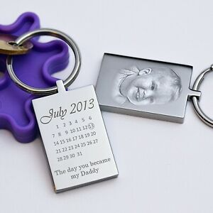 Personalised Calendar and Photo Keyring,  Keychain, Father's day Gift
