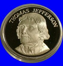 1975 Thomas Jefferson .925 Sterling Silver Medal Great Americans President