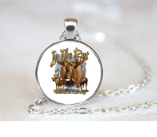 In The Rut Moose PENDANT NECKLACE Chain Glass Tibet Silver Jewellery