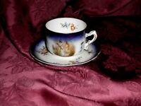 Vintage Bone China Demitasse Pictorial Tea Cup & Saucer Blue - Gold Trim