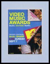 2008 Mtv Vma 11x14 Framed Original Advertisement Lil Wayne Britney Spears