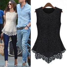 Ladies White  Lace Blouse Sleeveless shirt Chiffon Tops increase S M -5XL