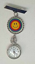 SMILING RAINBOW EMOJI  FACE brooch fob watch  nurse  , uniform watch