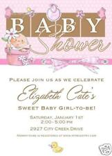 10 PRINTED Cute Girl Blocks Baby Shower Pink Ducky Invitations