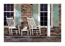 Stone House by Zhen-Huan Lu Art Print Rocking Chair Flower Porch Poster 27x39