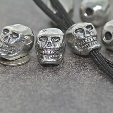 """Skull bead Pewter, Grinning, Vertical 3/16"""" hole LARGE!"""