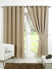 Beige Supersoft  BLACKOUT Thermal Curtains in Ring Top / Eyelet  + Free Tiebacks