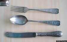 19C. ANTIQUE SILVER-PLATED FORK KNIFE SPOON SET MARKED