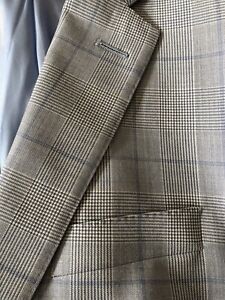 Richard James Blue and Grey Prince of Wales Check Suit 100% Wool: 42R
