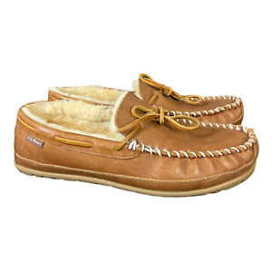 LL Bean Wicked Good Brown Shearling Sheepskin Moccasin Slippers Mens 11 M