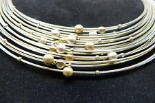 Halskette Collier Silberkugeln 925/- auf Stahl mit Magnetverschluss bicolor