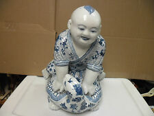 china porcelain blue white boy riding on turtle statue figurine