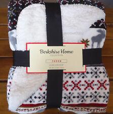 Berkshire ALPINE MOOSE Plush THROW BLANKET Cabin Rustic SHERPA RED GRAY BLACK