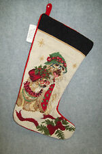 Cocker Spaniel Needlepoint Dog Christmas Stocking, Wool and Cotton.