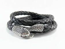 Ouroboros Leather Snake Bracelet Black Wrap Bracelet Unisex Leather Bracelet