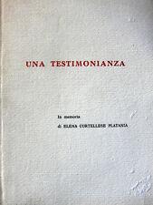 MARIO CORTELLESE UNA TESTIMONIANZA IN MEMORIA DI ELENA CORTELLESE PLATANIA 1986