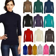 Womens Ladies Long Sleeve Polo Neck Turtle Roll High Neck Jumper Top Sizes 8-26