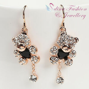 18K Rose Gold GP Made With Swarovski Crystal Exquisite TeddyBear Dangle Earrings