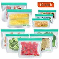 10 Pack Reusable Sandwich Bags Leakproof Storage Bag Freezer Safe Ziplock Rezip