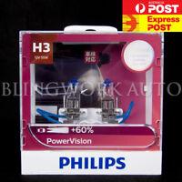 (PAIR) Philips H3 Power Vision Power Vision +60% Halogen Bulb for fog Spot light