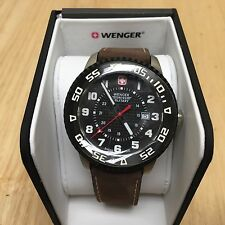 New Wenger Roadster Swiss Military Men Genuine Leather Analog Quartz Watch Hours