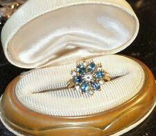 Ross Simons Teal Blue Spinel Flower 18k Yellow Gold vermeil sterling silver ring