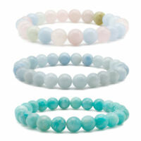 8mm Natural Agate Stones Healing Stretch Beaded Bracelet for Women Jewelry
