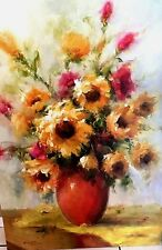 "Beautiful Oil Painting Still Life Of Wild Flowers in Vase Signed  Canvas 36""x24"""