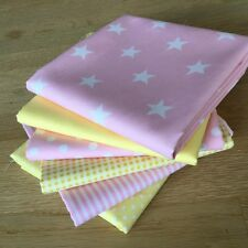BABY PINK & LEMON YELLOW Fat Quarter Bundle 100%cotton Spot Stripe Pastel Fabric