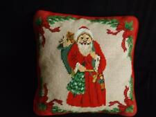 """Father Christmas Handmade Needlepoint Decorative Pillow 13"""" Square Wool"""