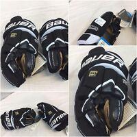"Bauer Total One Supreme Hockey Gloves 10"" 11"" Mismatch Black NWT YGI GL9-1"