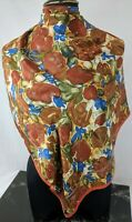 "Lovely Vintage Syrup, Cinnamon and Blue Pure Silk Scarf 29"" x 29"""