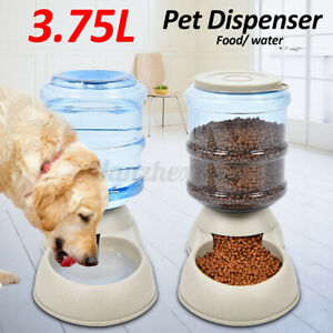 3.75L Large Pet Automatic Food Drink Dispenser Dog Cat Feeder Water Dish  ~