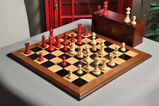 The Superior Grandmaster Chess Set, Box, and Board Combination - Red Gilded