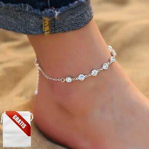 Fußkettchen Damen Silber Diamanten Fußkette Fusskette Schmuck Geschenk Frauen